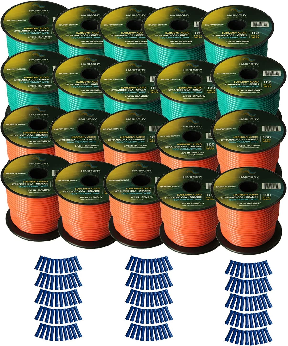 Harmony Audio Primary Single Conductor 16 Gauge Power or Ground Wire - 20 Rolls - 2000 Feet - Green & Orange for Car Audio/Trailer/Model Train/Remote
