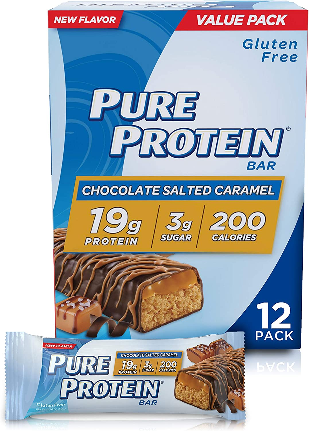 Pure Protein Bars, High Protein, Nutritious Snacks to Support Energy, Low Sugar, Gluten Free, Chocolate Salted Caramel, 1.76oz, 12 Pack