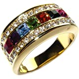Ah! Jewellery® Women's High End Multi Colour Designer Ring. 9mm Wide Rainbow Crystal Colour Band. 3 x 3mm Swarovski Elements Crystals & an Assortment of Brilliant Rounds. Gold Filled. High Quality.
