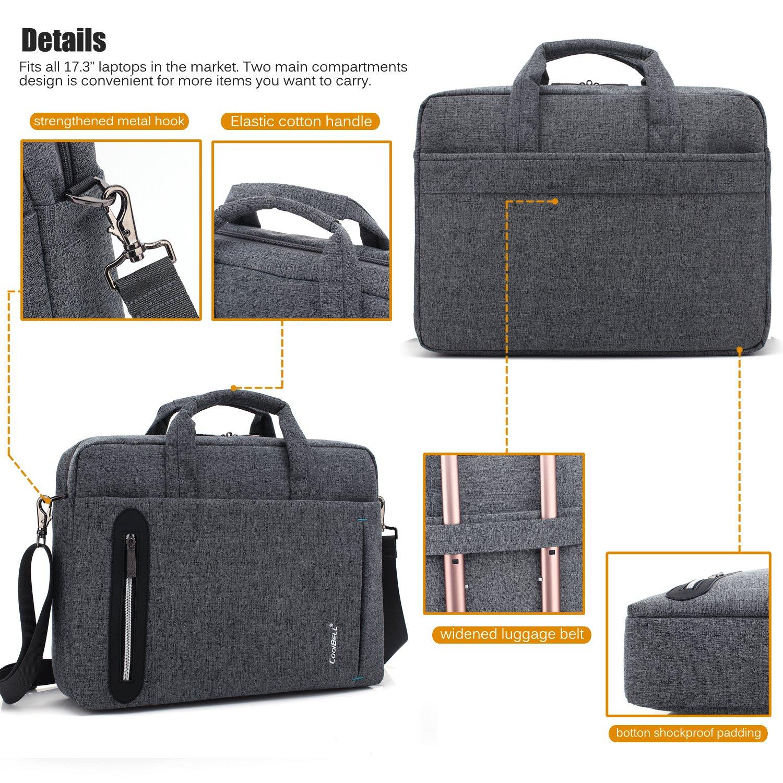 CoolBELL 17.3 inch Laptop Bag Messenger Bag Hand Bag Multi-compartment Briefcase Oxford Nylon Shoulder Bag For Laptop/Ultrabook/HP/Acer/Macbook/Asus/Lenovo/Men/Women (New Grey) by CoolBELL (Image #7)