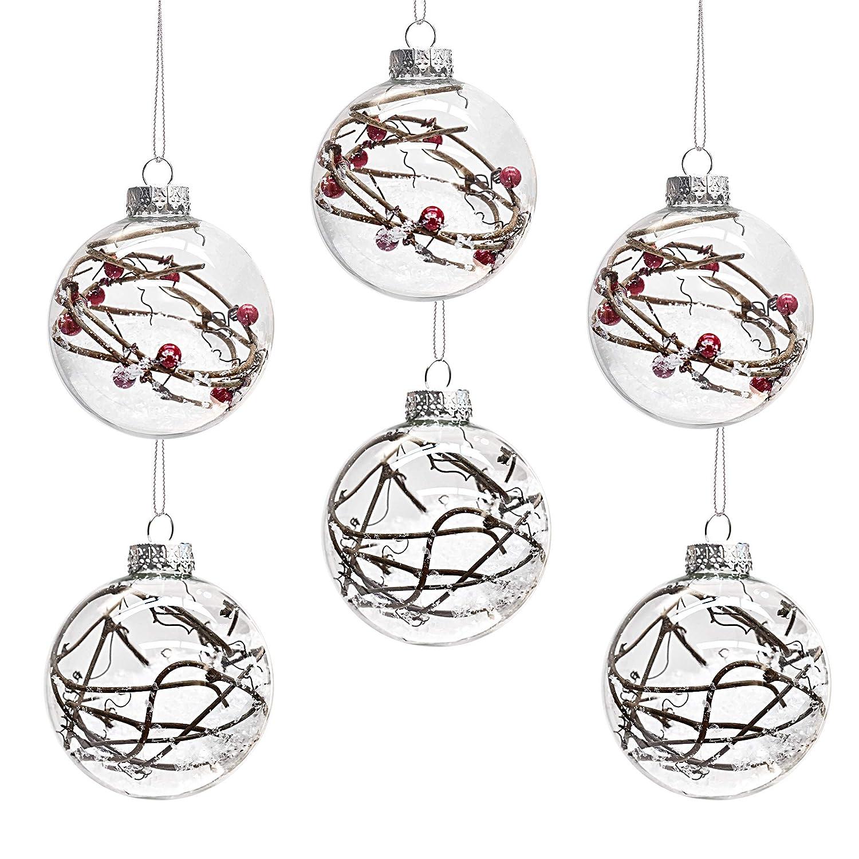 Valery Madelyn Bolas de Navidad, 8CM Espléndidas Vitreas con Círculo argentio para Decoraciones de Navidad o Adornos para el Banquete de Boda Home Garden (Juego de 6)