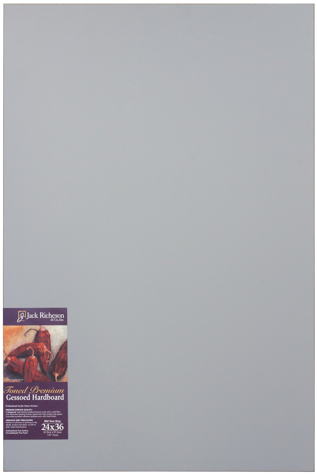 Jack Richeson Richeson Mid Grey Toned Gessoed 1/8'' Hardboard 24''x36'' by Jack Richeson