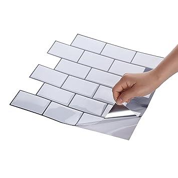Wall Crafts® 3D Mosaik Fliesensticker Selbstklebend 10 Stück Für Küche Bad,  Vinyl Fliesenfolie Schwarz