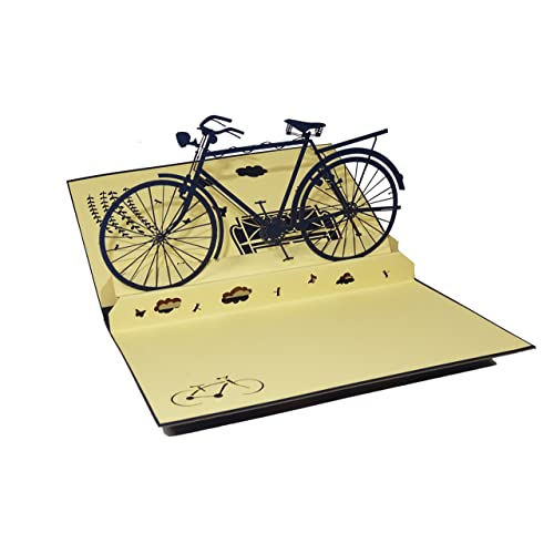 Bicycle Design 3D Pop Up Card Greeting Card Birthday Card Bike Gift Cyclist Gift (Blue