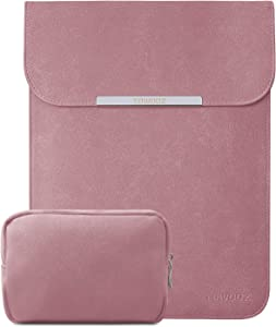 TOWOOZ 13.3 Inch Laptop Sleeve Case Compatible with 2016-2020 MacBook Air/MacBook Pro 13-13.3 inch/iPad Pro 12.9/Surface Pro, Artificial Leather, Innovative Materials, with a Accessory Bag, Pink