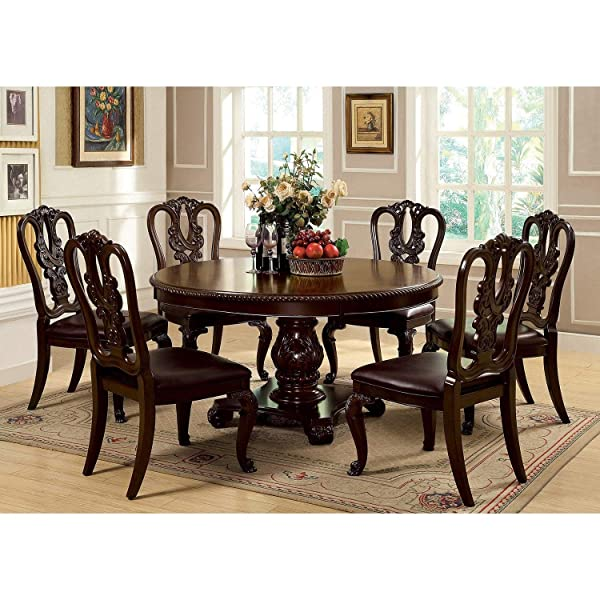 Side Dining Room Chairs Wooden Set of 2 Solid Wood, Veneers, Leather-like Fabric, Beautiful Cabriole Legs with Matching Carvings,mid-century Traditional Transitional Furniture
