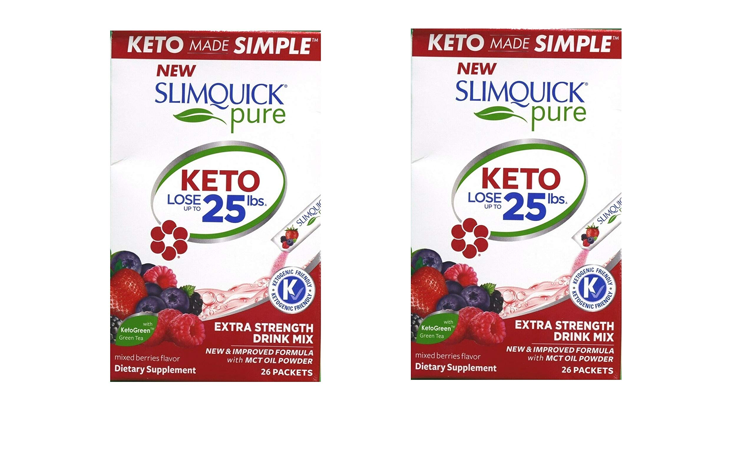 SLIMQUICK Pure Weight Loss Drink Mix Designed for Women, Mixed Berries 26 ea (Pack of 2) by SlimQuick
