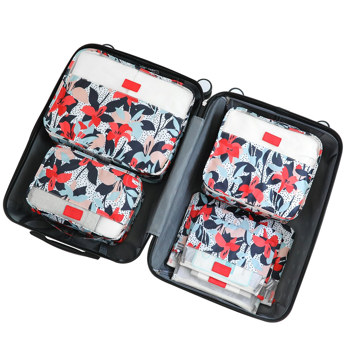 Belsmi 6 Set Packing Cubes - Waterproof Compression Bag Travel Luggage Organizer (Series A - Fire Flower)