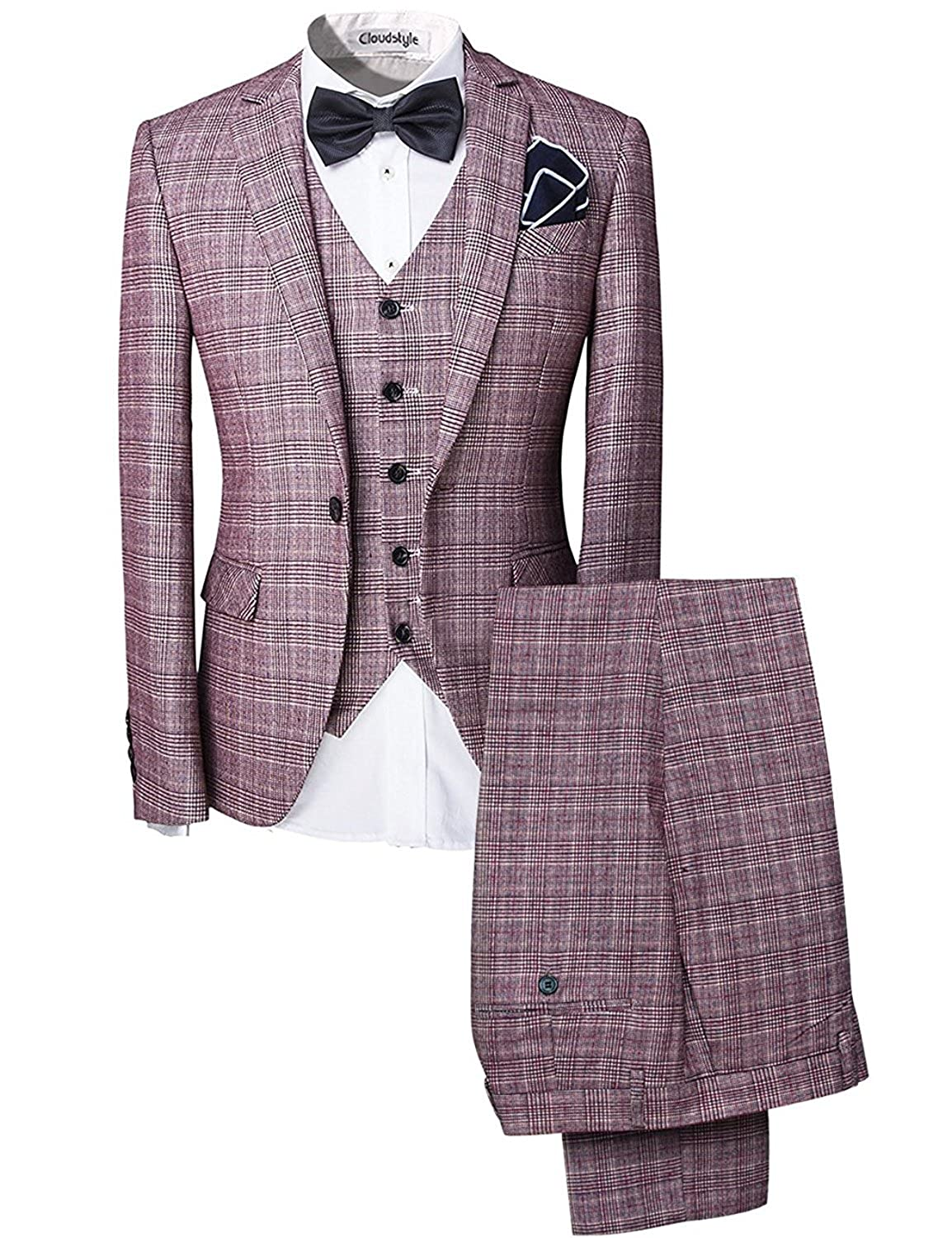 Retro Clothing for Men | Vintage Men's Fashion Cloudstyle Mens 3-Piece Suit One Button Plaid Dress Blazer Jacket & Vest & Trousers Set $95.99 AT vintagedancer.com