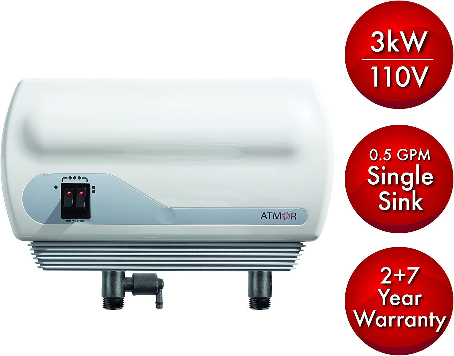 Atmor AT-900-03 Single Sink 3kw/110V, 0.5 GPM Point-Of-Use Tankless Electric Water Heater and 0.5 GMP Sink Aerator Image