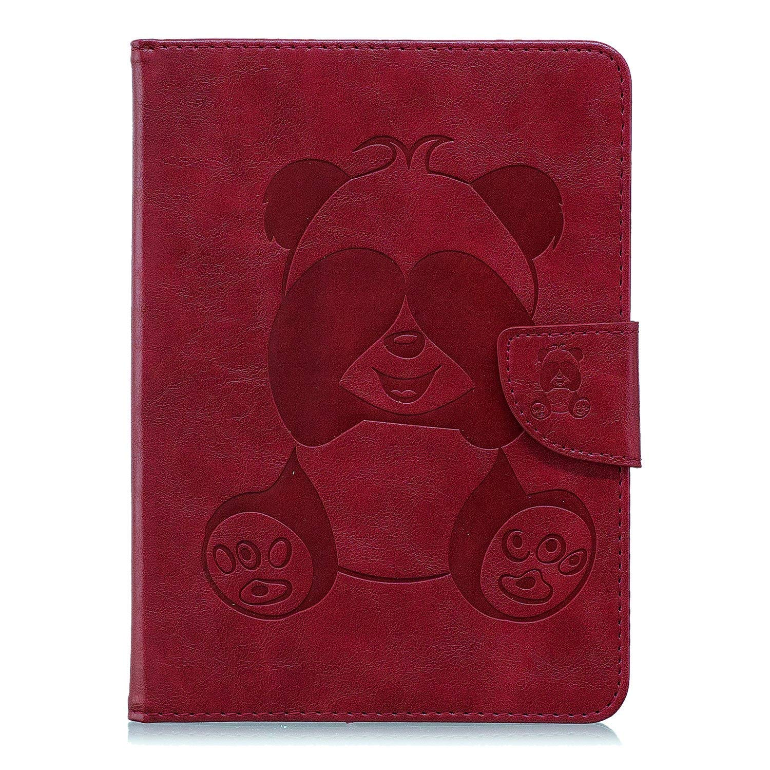 Lederhülle für Amazon Fire HD 10 (7. Generation - 2017), Fire HD 10 2017 Hülle Case, Ekakashop Ultradünn Cute Grau Panda Muster Smart Cover Magnetverschluss PU Leder Schale Ständer Flip Wallet Case Etui Cover TPU Innere Hülle mit Standfunktion / Auto Sleep