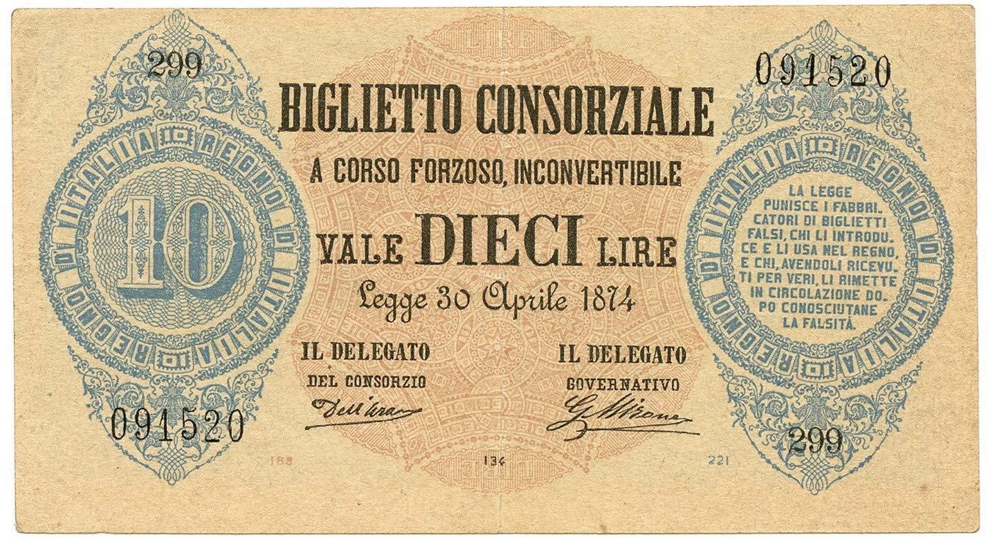 Cartamoneta  10 Lire Biglietto CONSORZIALE Regno d'Italia 30 04 1874 BB SPL
