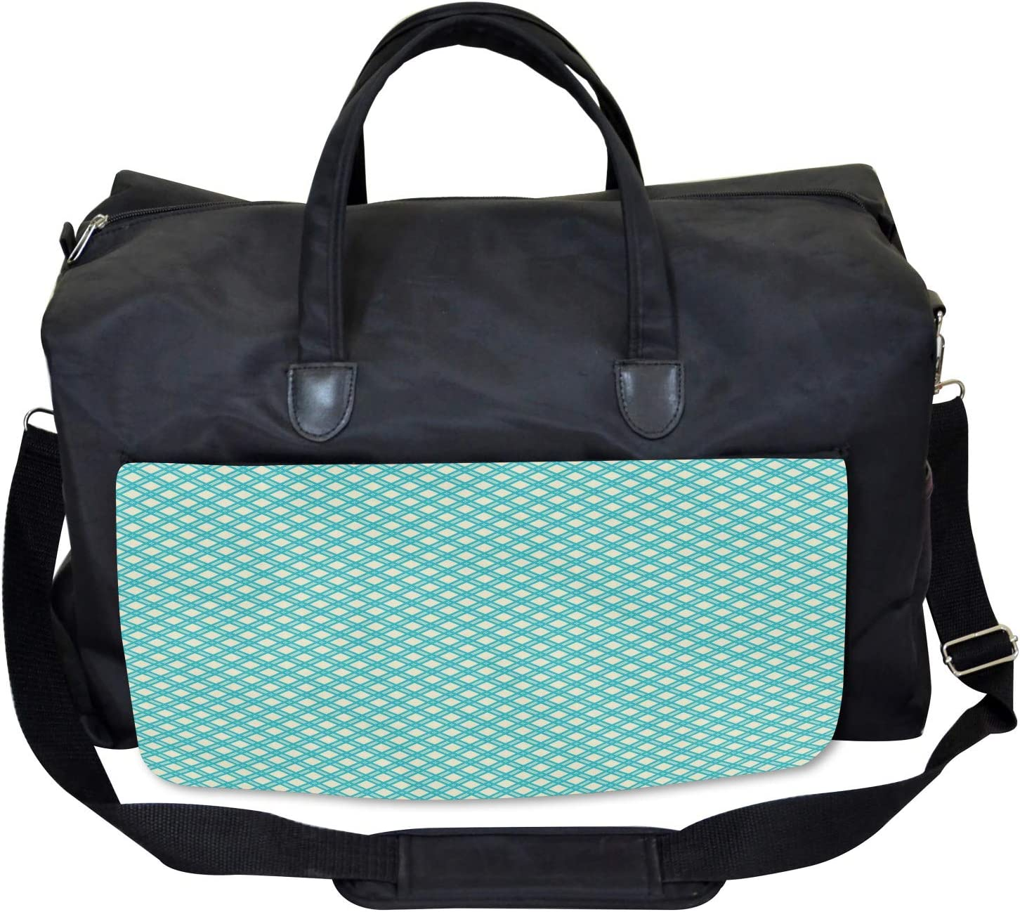 Aqua Checked Tile Large Weekender Carry-on Ambesonne Geometric Gym Bag