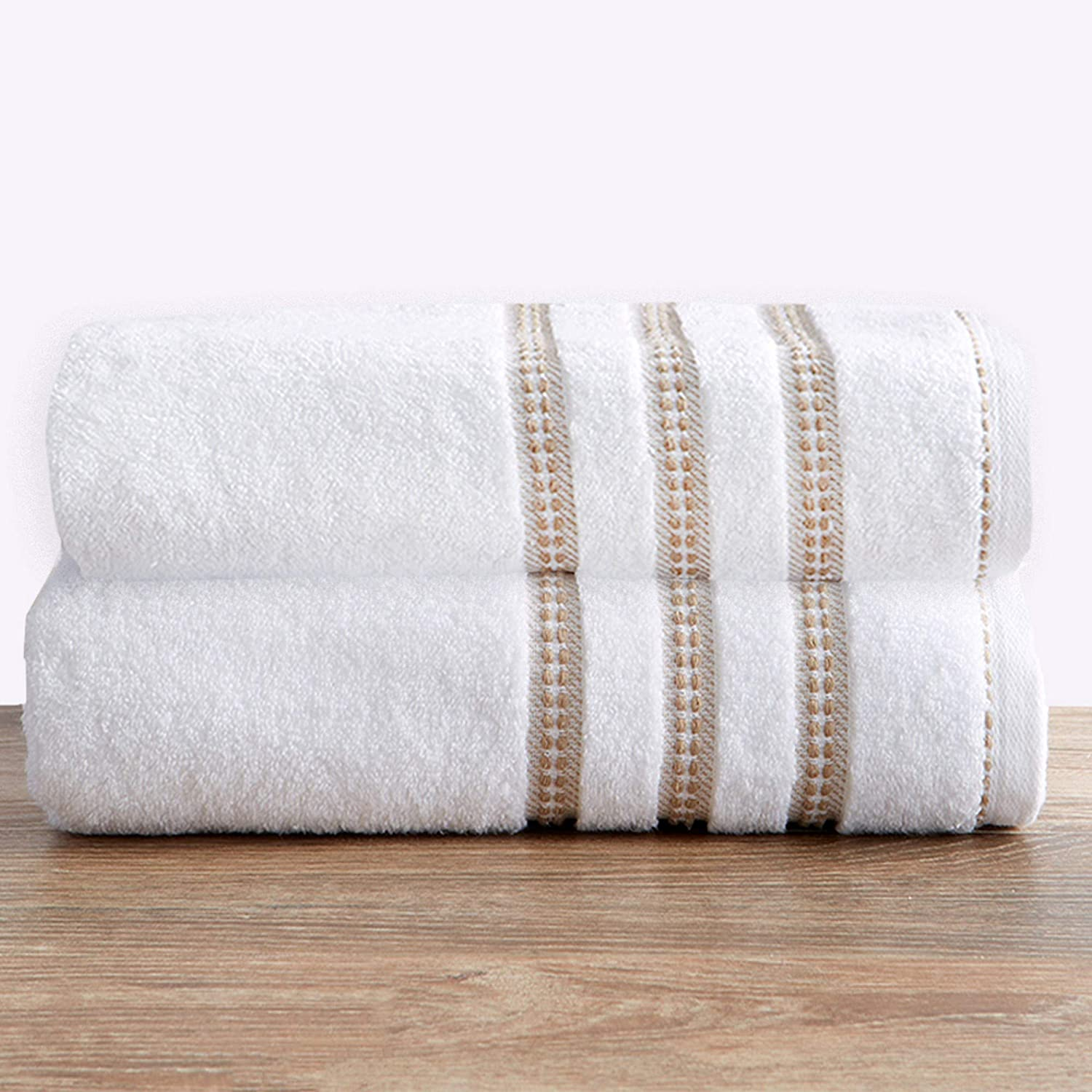 100% Cotton Plush Bath Towel Set (30 x 52 inches) Absorbent Floral Jacquard Luxury Towels. Roselyn Collection (Set of 2, White / Taupe)