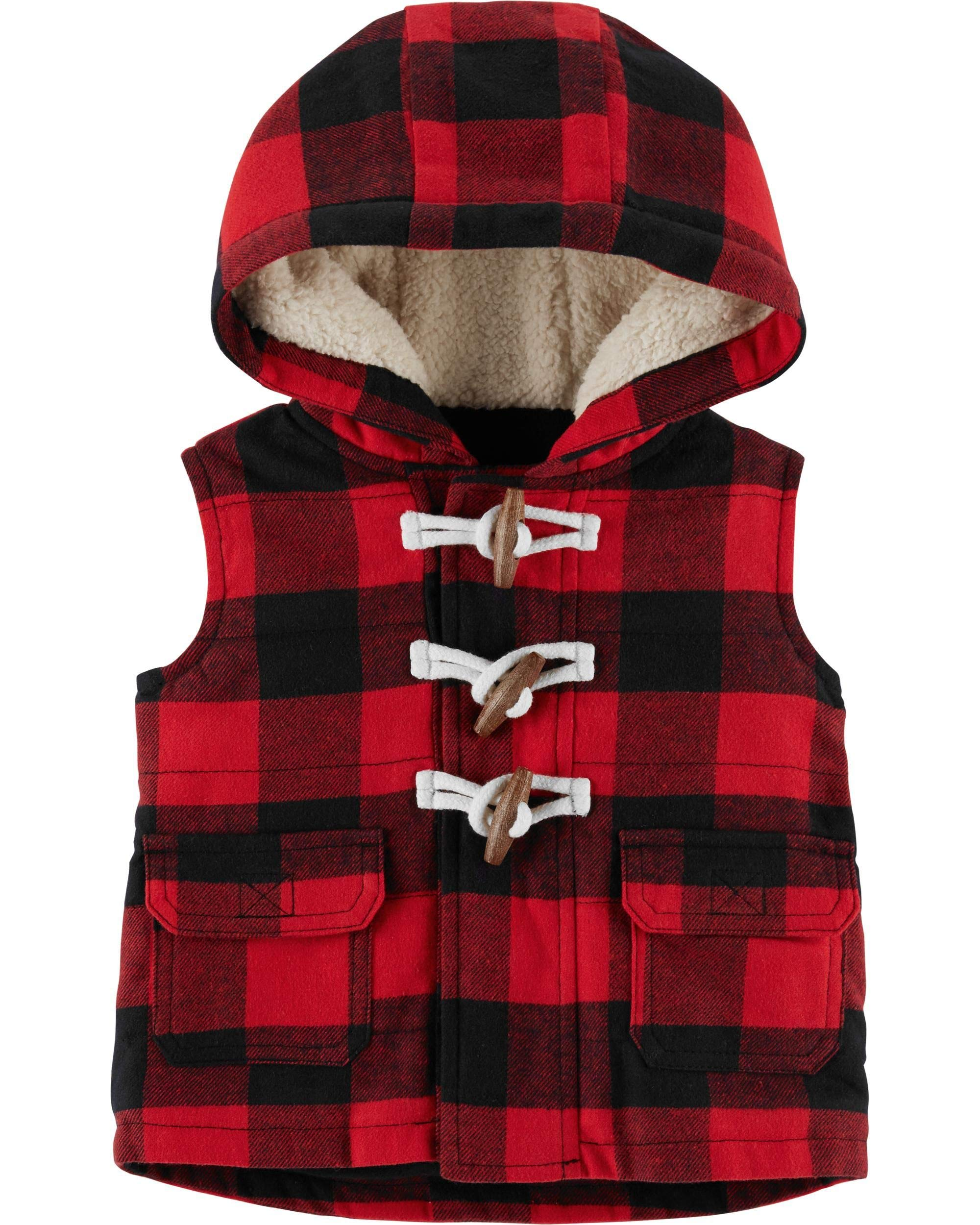 Carter's Baby Boys Hooded Buffalo-Check Toggle Vest - Red/Black (12 Months) by Carter's