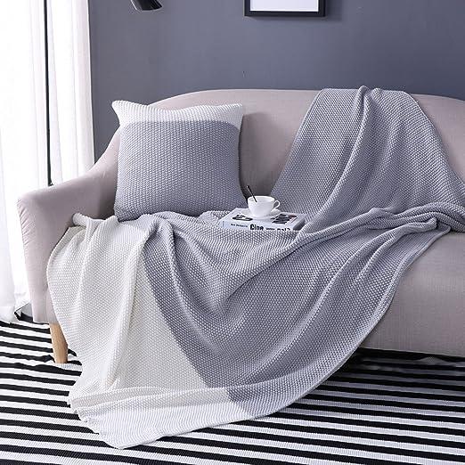 Oroa y Beige manta mantas de punto gris con una funda de ...