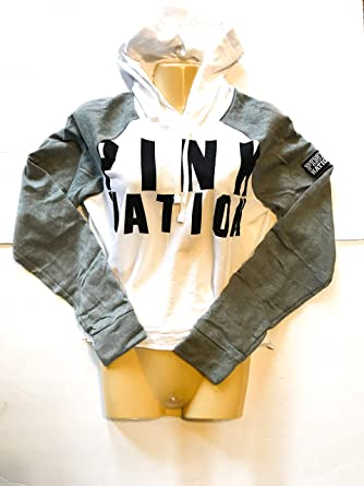 835a4aba7d1 Pink Victoria Secret Nation Raglan Crop Hoodie Top XSmall NWT Grey White  Black at Amazon Women's Clothing store: