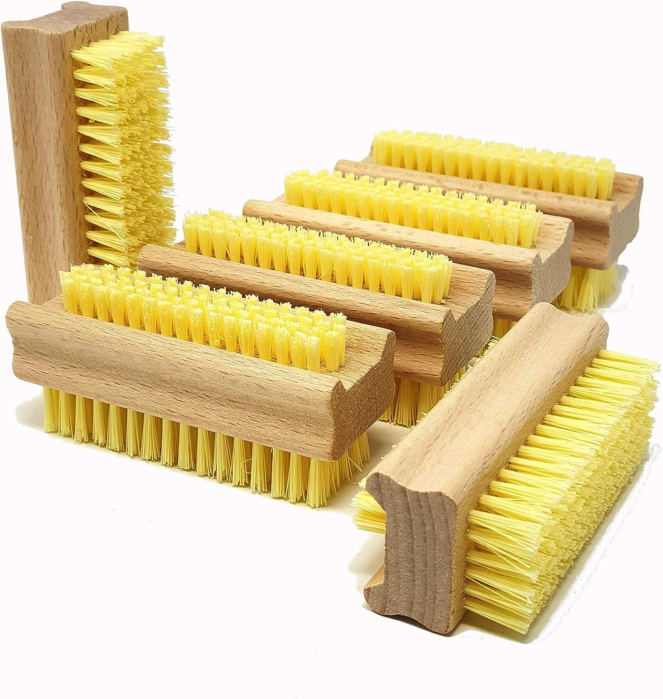 Pilix - Cepillo para uñas de Madera con cerdas de Pet (6 Unidades, Madera de Haya sin Tratar)