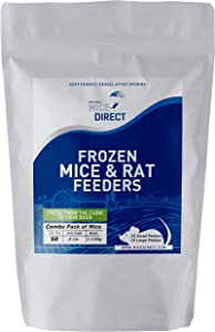 MiceDirect Frozen Mice Combo Pack of 50 Small & Large Pinkies Feeder Mice – 25 Small Pinkies & 25 Large Pinkies -Food for Corn Snakes, Ball Pythons, Lizards & Pet Reptiles-Freshest Snake Feed Supplies