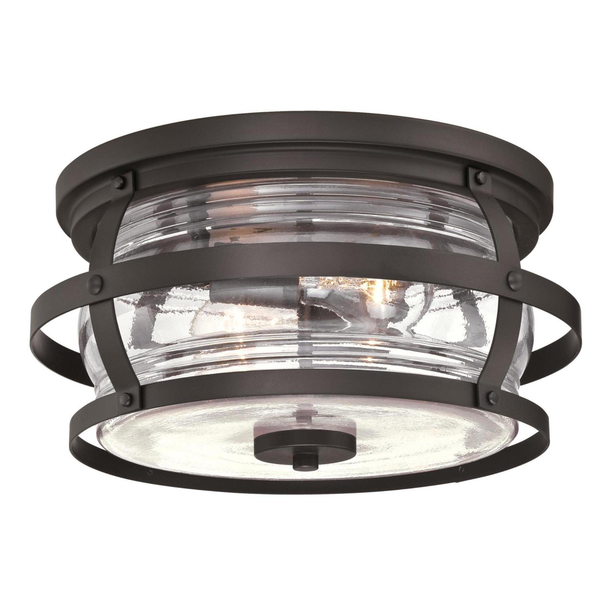 Westinghouse Lighting 6359500 Weatherby Two-Light Flush-Mount, Weathered Bronze Finish with Clear Glass Outdoor Ceiling Fixture,