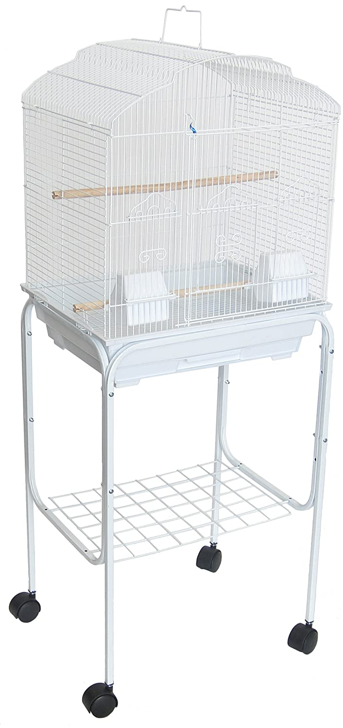 YML 5804 3/8-Inch Bar Spacing Shall Top Bird Cage with Stand, 18-Inch by 14-Inch/Small, Black 5804_4814BLK