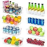 Refrigerator Organizer Bins, Vtopmart 4 Large and 4 Narrow Clear Plastic Fridge Organizers for Freezer, Cabinet, Countertops,