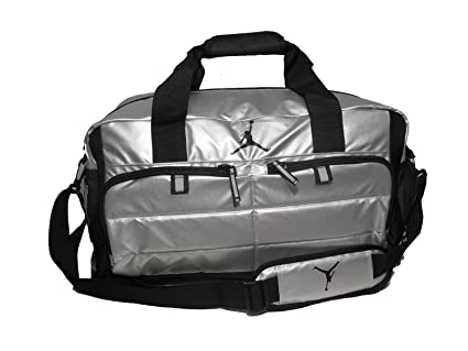 reputable site 76d05 a79c9 Image Unavailable. Image not available for. Color  Nike AIR JORDAN JUMPMAN  All World Sport Duffel Bag - Silver Black ...