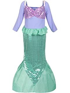 26df8b742593 ReliBeauty Girls Ariel Dress Sequins Little Mermaid Costume
