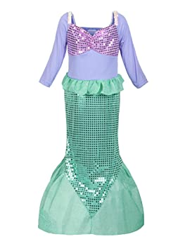 Girls Sequins Little Mermaid Costume