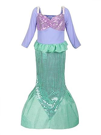 df9a5bedf8a3a Amazon.com: ReliBeauty Girls Ariel Dress Sequins Little Mermaid Costume:  Clothing