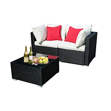 Wonlink 3 PCS Outside Patio Furniture Sectional,PE Rattan Wicker  Conversation Sofa Sectional,White