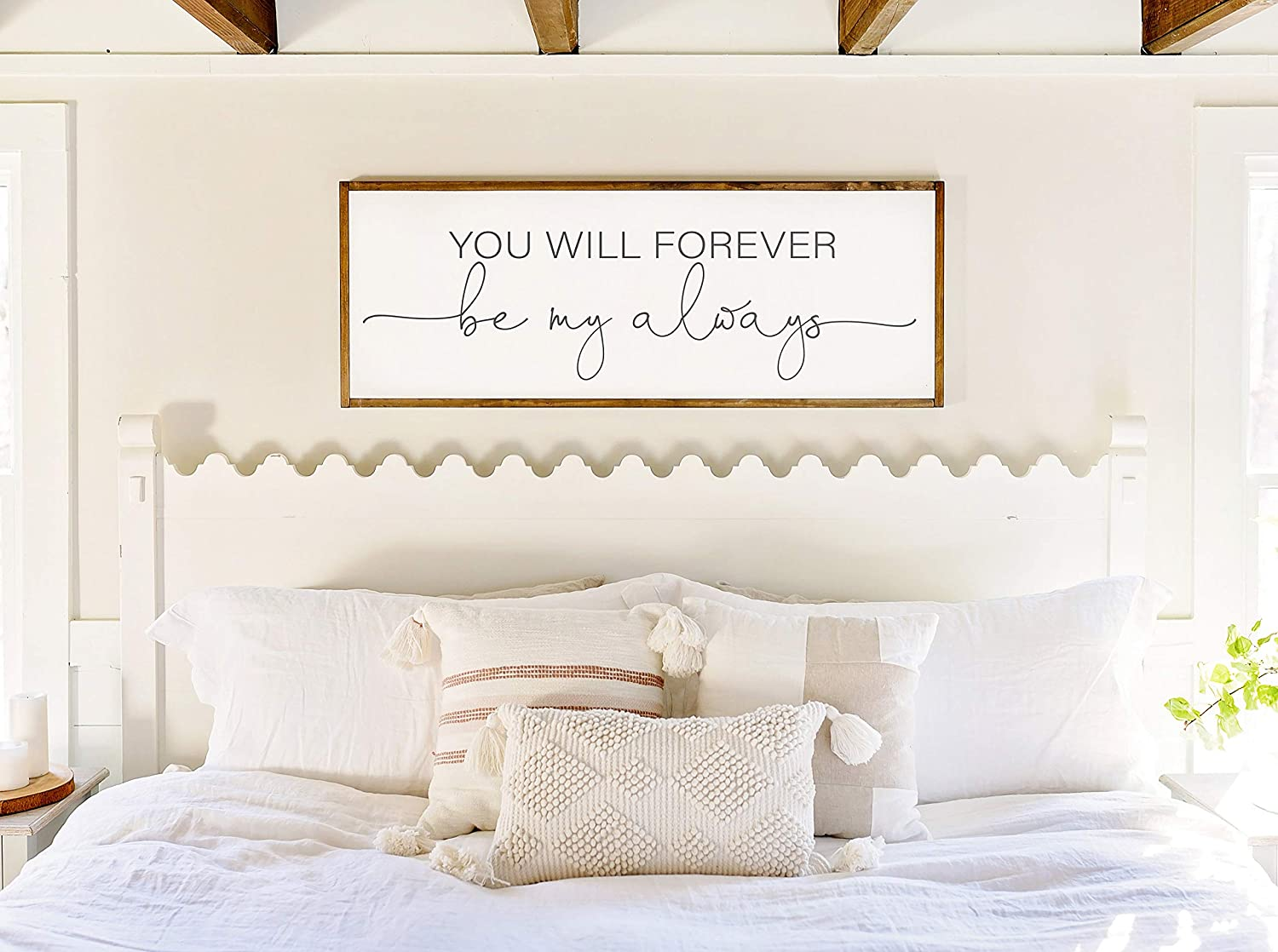 EricauBird Wood Sign-Bedroom Wall Decor,Sign for Above Bed,You Will Forever be My Always Wood Sign,Master Bedroom Wall Decor,Above Bed Signs, Home Wall Art, 6x20