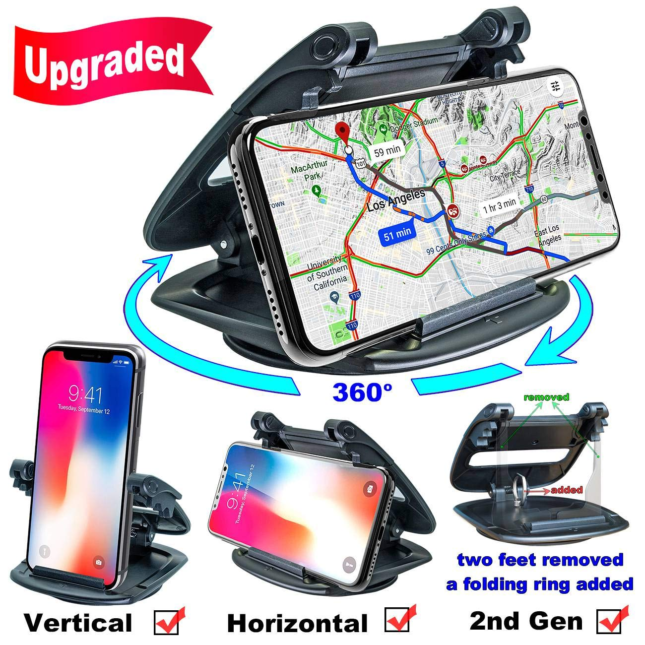 Cell Phone Holder for Car Dashboard 2nd Gen GPS Holder Car Phone Mounting in Pickup Truck Compatible iPhone Xs Max XR X 6S 7 8 Plus Samsung Galaxy Note 9 S9 Pixel Car Phone Mount Silicone Dash Pad
