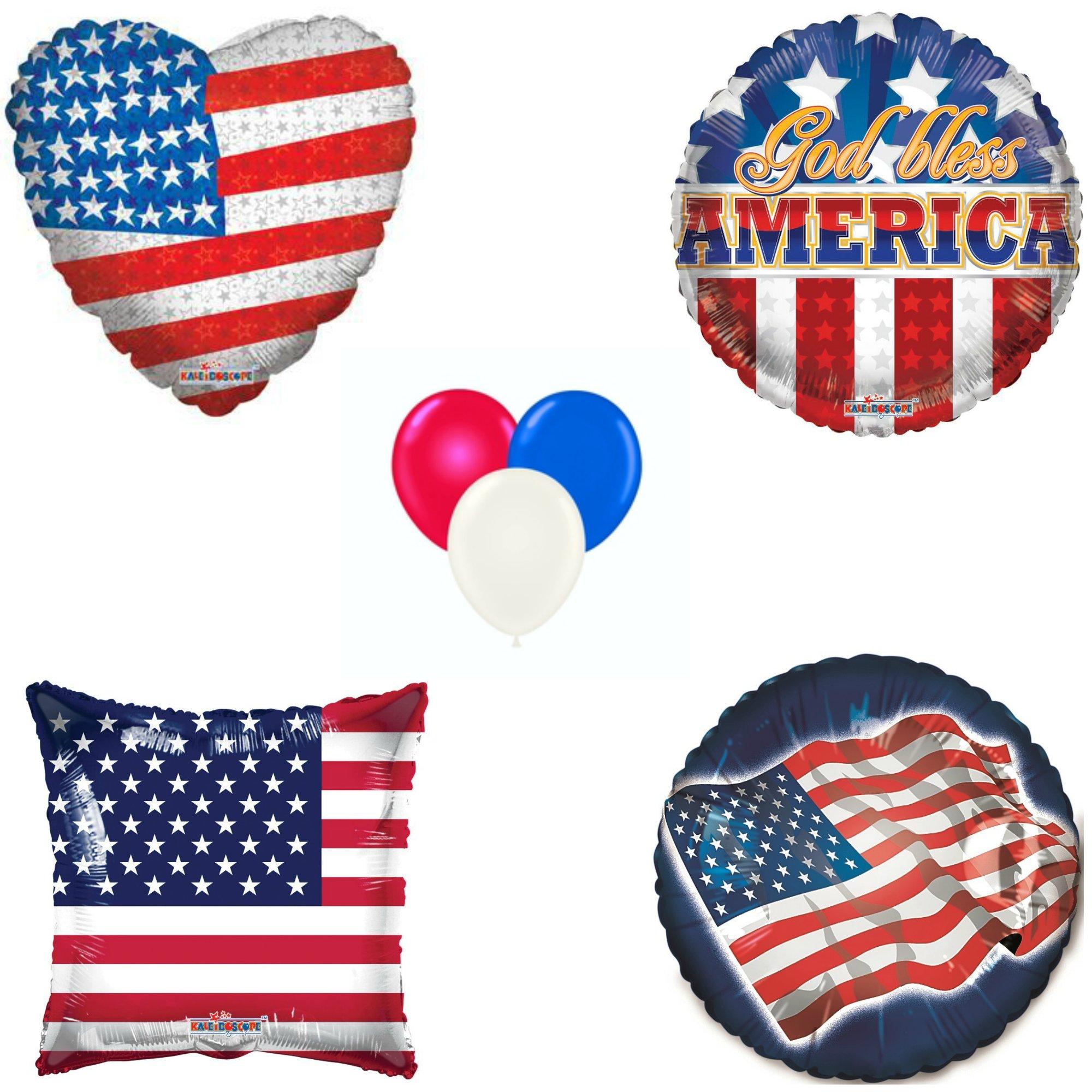 Patriotic Balloons Bundle - One 18'' Foil Heart Flag, One 18'' Foil Circle God Bless America, One 18'' Foil Square Flag, One 18'' Foil Circle Flag & Fifteen 11'' Latex Mix of Red, White & Blue