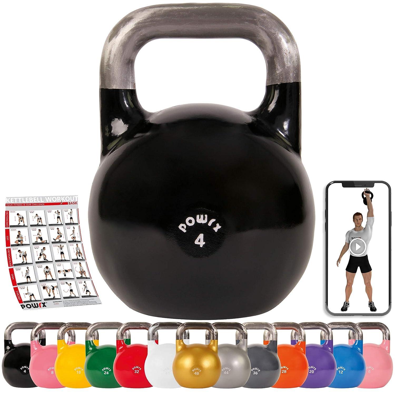 POWRX Kettlebell Pesa Rusa Competición 4-28 kg + PDF Workout (4 kg ...