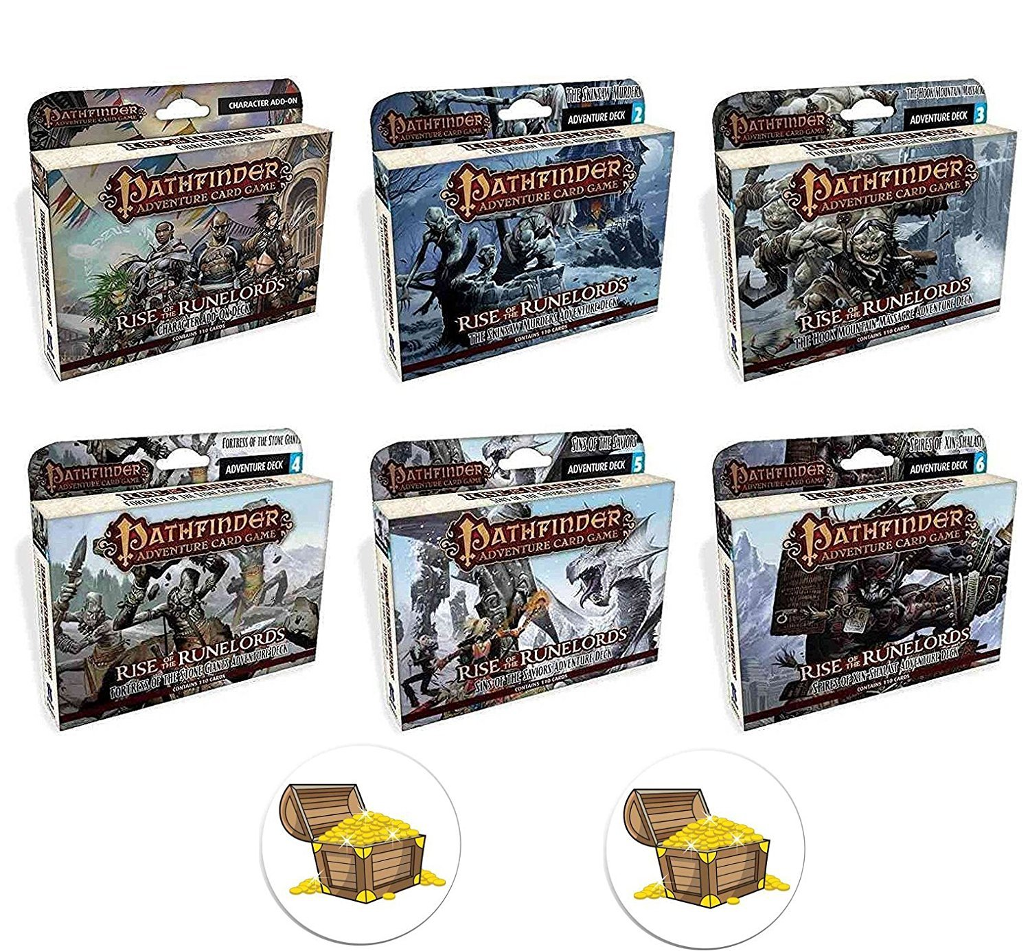 BUNDLE of All 6 Pathfinder Adventure Card Game Rise of the Runelords Expansion Decks Plus 2 Treasure Chest Buttons