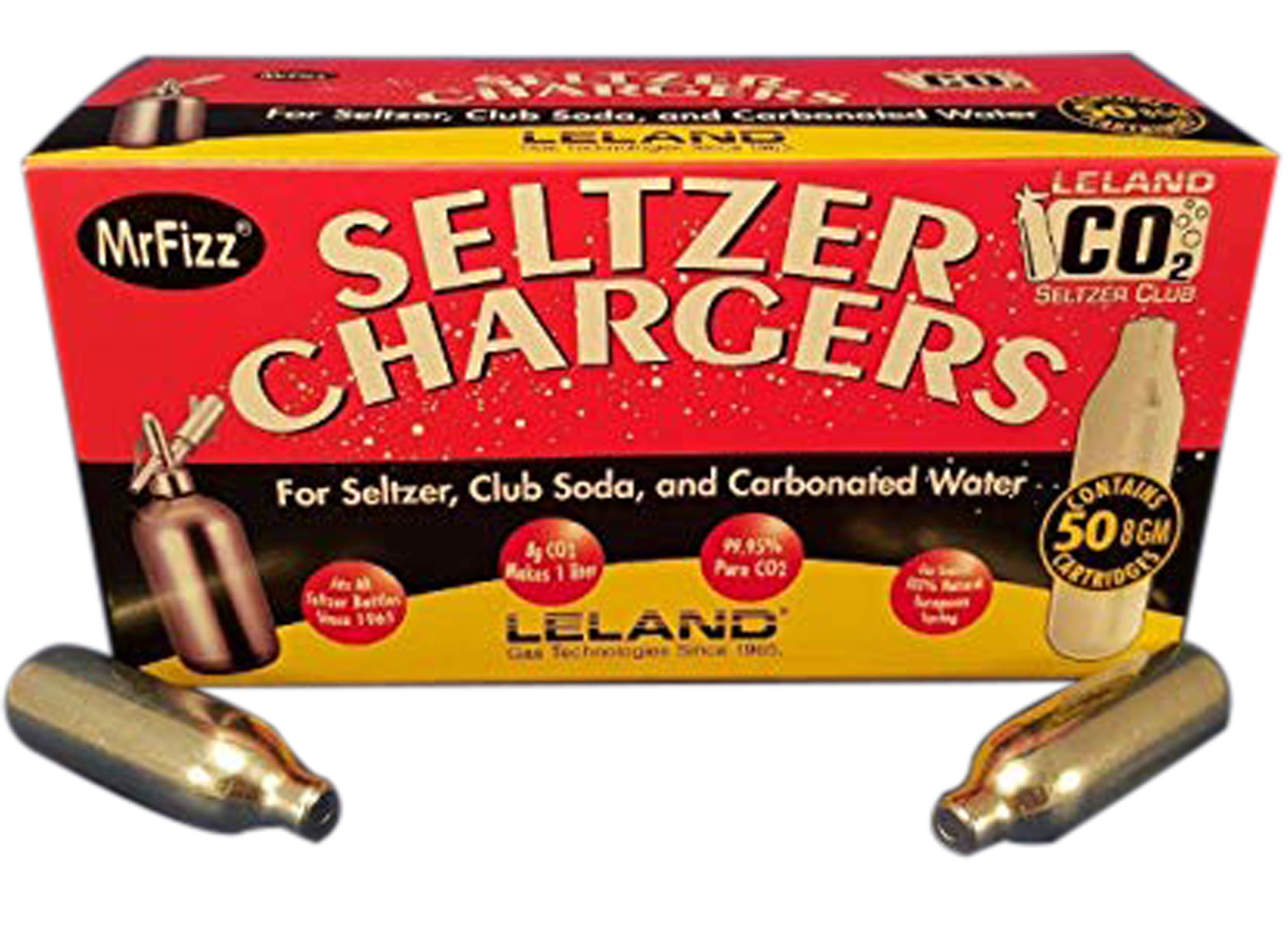 MrFizz LS-50 Sod, Leland Mr Fizz Seltzer 8g CO2 Charger 50PK Compatible with All 1 Liter/Quart Soda Siphons, Silver by MrFizz