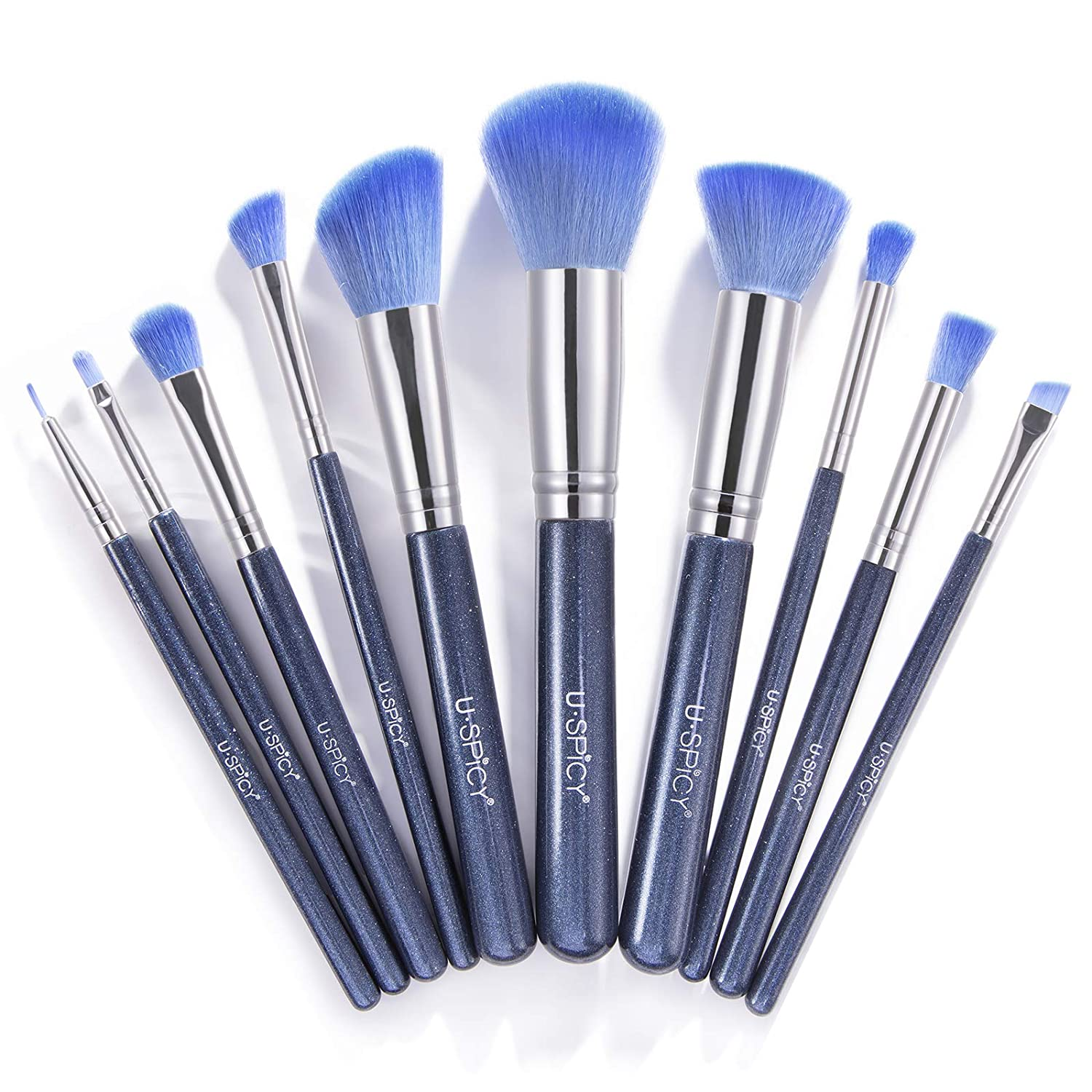 Makeup Brushes, USpicy Professional Makeup Brush Set 10 Pieces (Soft Synthetic Fiber for Uniform Application of Blush, Creams, Liquids, Contouring & Powders)-Blue