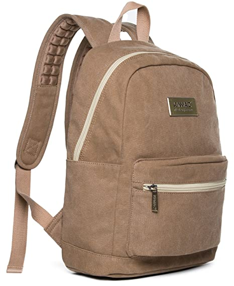 d7c668d7ef Kinmac Brown Canvas Small Size Laptop Backpack with Massage Cushion Straps  for Laptop Up to 13