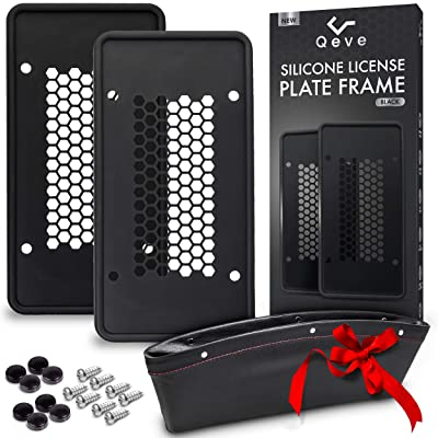 Silicone License Plate Frames, 2 Pack Durable Car Tag Holders with 8 Screws & Screw Covers, Won\'t Scratch, Rattle, Rust, or Break, Bonus Car Seat Filler by Qeve: Automotive [5Bkhe2011575]