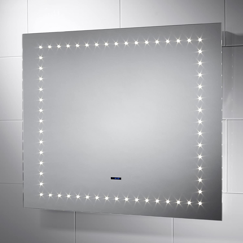 Pebble Grey Rectangular Paluxy LED Illuminated Bathroom Mirror with ...