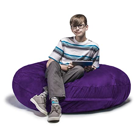 Jaxx Bean Bags Cocoon Junior Kids Microsuede Bean Bag, 4-Feet, Grape