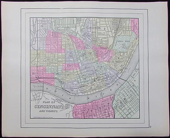 Antique Ohio Map.Amazon Com Cincinnati Ohio 1894 Nice Antique City Plan Map A L