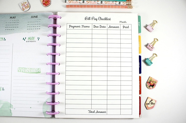 amazon com big happy planner montly bill pay checklist big happy