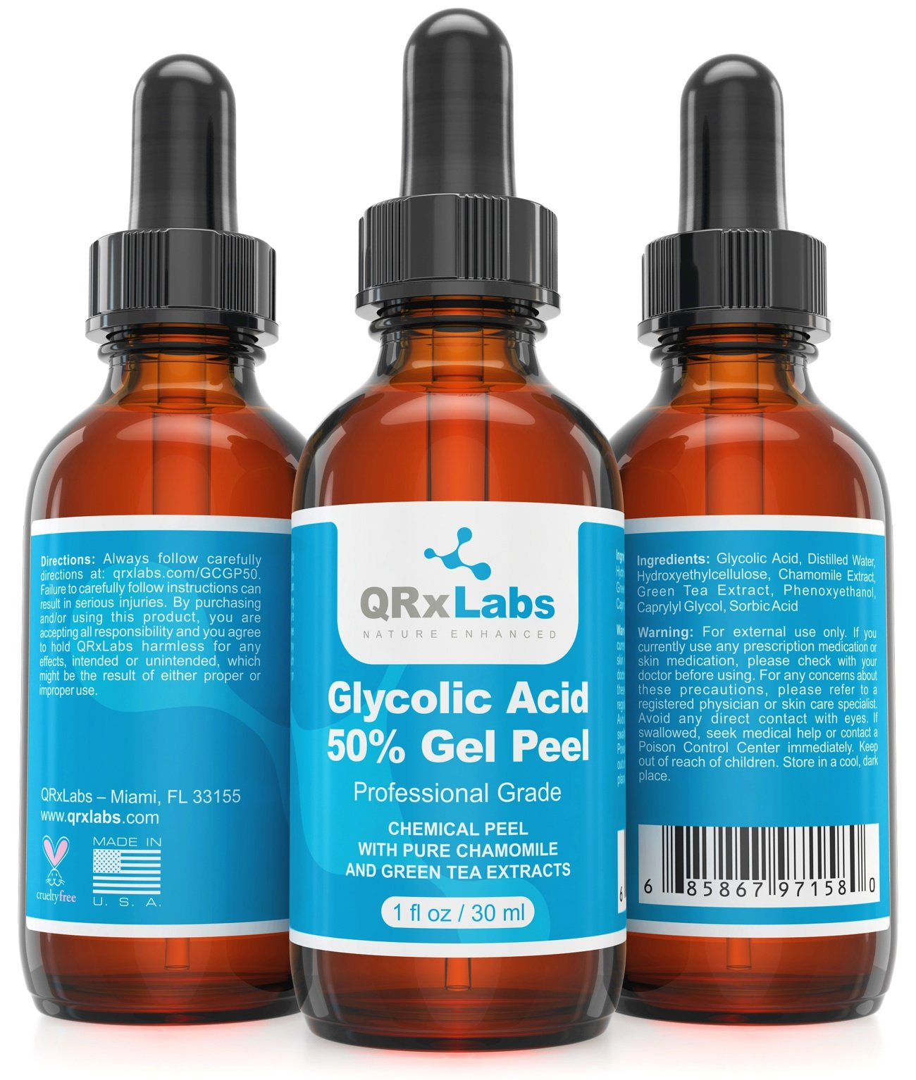 Glycolic Acid 50% Gel Peel with Chamomile and Green Tea Extracts - Professional Grade Chemical Face Peel for Acne Scars, Collagen Boost, Wrinkles, Fine Lines - Alpha Hydroxy Acid - 1 Bottle of 1 fl oz by QRxLabs (Image #1)