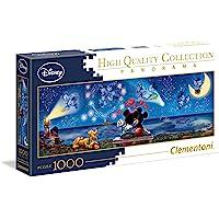 Clementoni 39449 Disney Classic Puzzel Mickey & Minnie 1000 stuks, High Quality Collection Panorama, behendigheidsspel voor het hele gezin, volwassenen puzzel vanaf 14 jaar