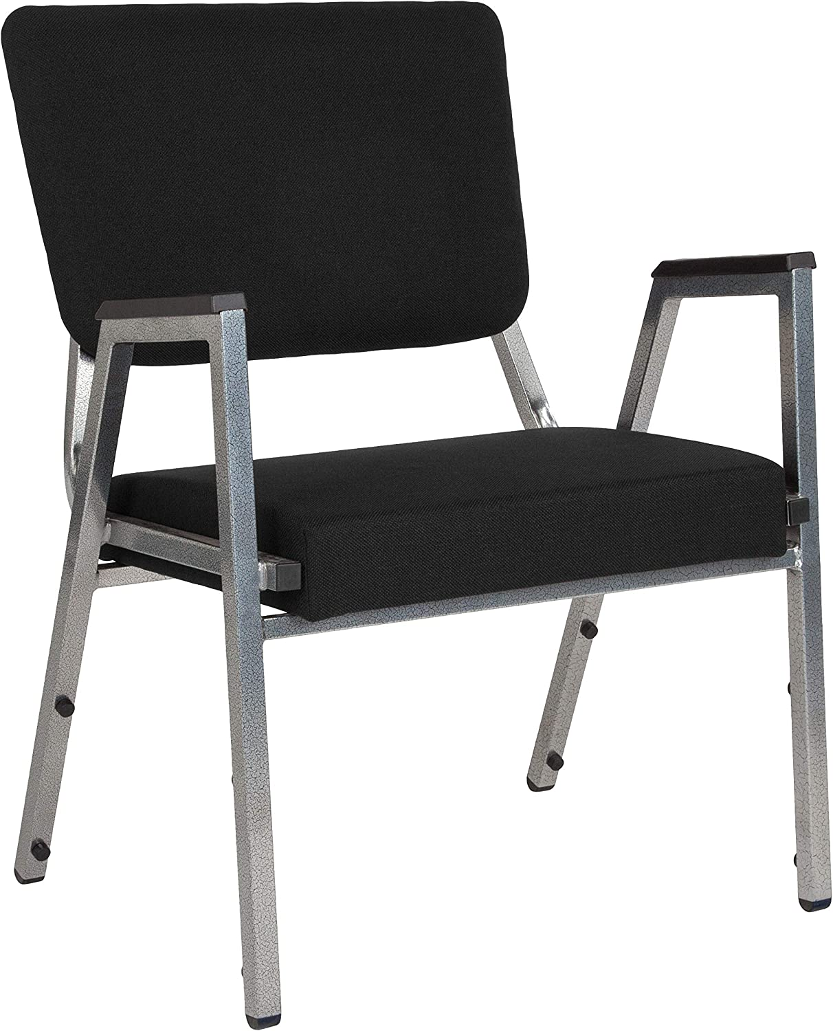 Flash Furniture HERCULES Series 1500 lb. Rated Black Antimicrobial Fabric Bariatric Medical Reception Arm Chair with 3/4 Panel Back