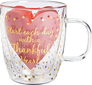 "Cypress Home Metallic Thankful Heart 12 oz Artisan Double-Wall Glass Coffee or Tea Café Cup in Coordinating Gift Box - 4.75""W x 4""D x 4.5""H"