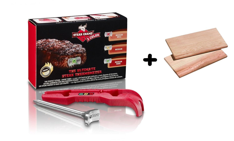 Steak Champ 3-color, the ultimate steak thermometer + Zedernholzbrett Smoky