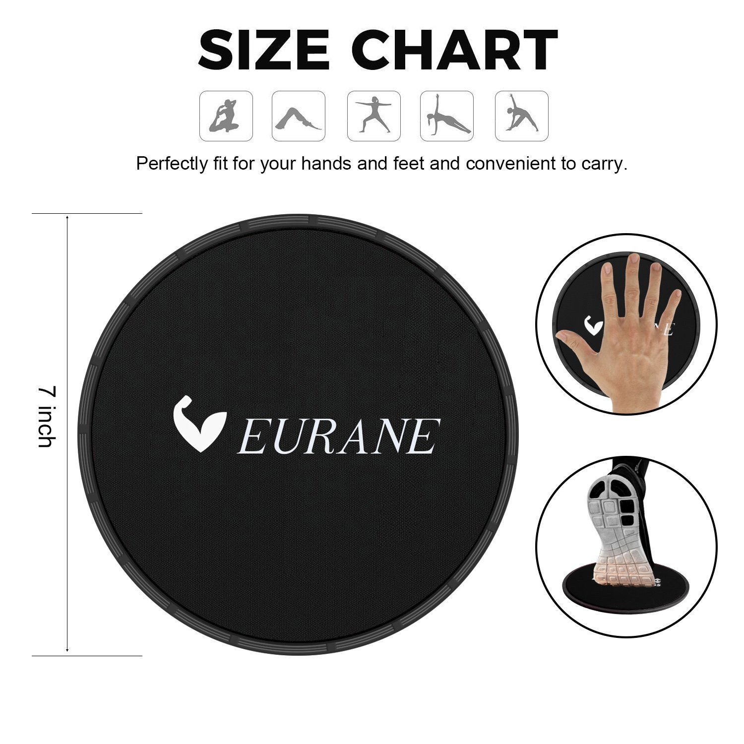 EURANE Set of 4 Gliding Discs Sliders Exercise Core, Dual Sided for Carpet or Hardwood Floors - Trainer Fitness Equipment for Abdominal, Total Body Workouts by EURANE (Image #2)
